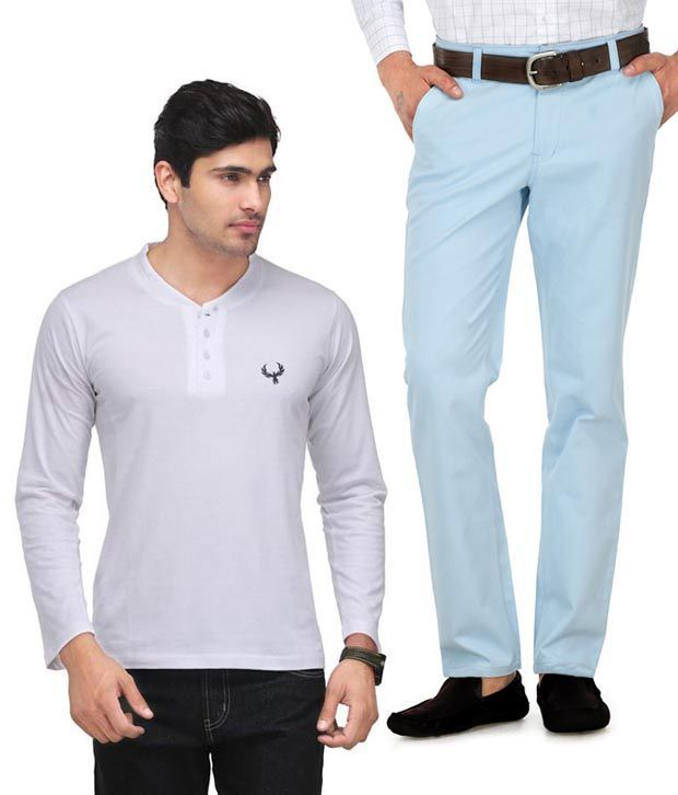 Phoenix White and Blue Henley T Shirt and Chinos Combo