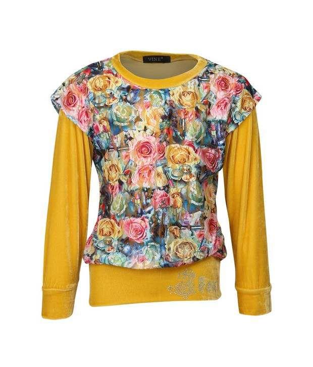Vine Yellow Sweatshirt For Girls