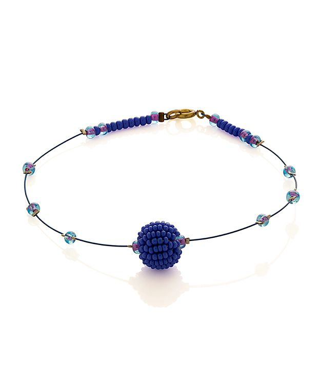 Voylla Anklet Featuring Blue Beaded Ball, Tiny Pink And Blue Beads