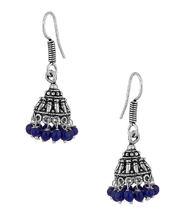 Voylla Earrings With Dark Blue Beads