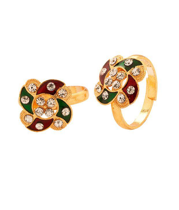Voylla Gold Tone Toerings With Crystal Studded Pinwheel Design