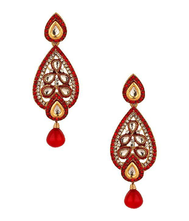 Voylla Tear Drop Shaped Earrings With Cz Stones