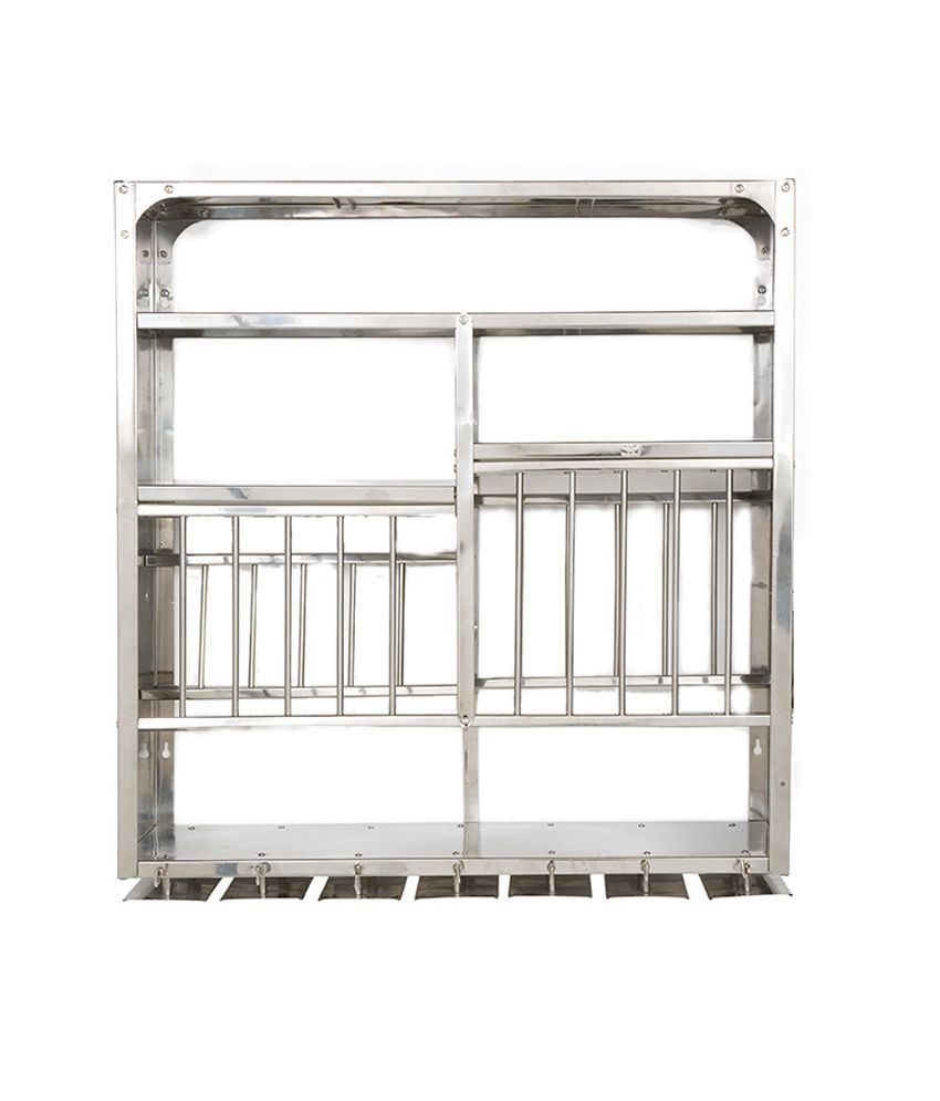 Bharat Gloss Finish Stainless Steel Kitchen Rack 30X30   KR30X30