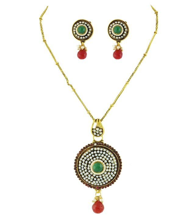 Golden Collections Stone Multi Necklace Set