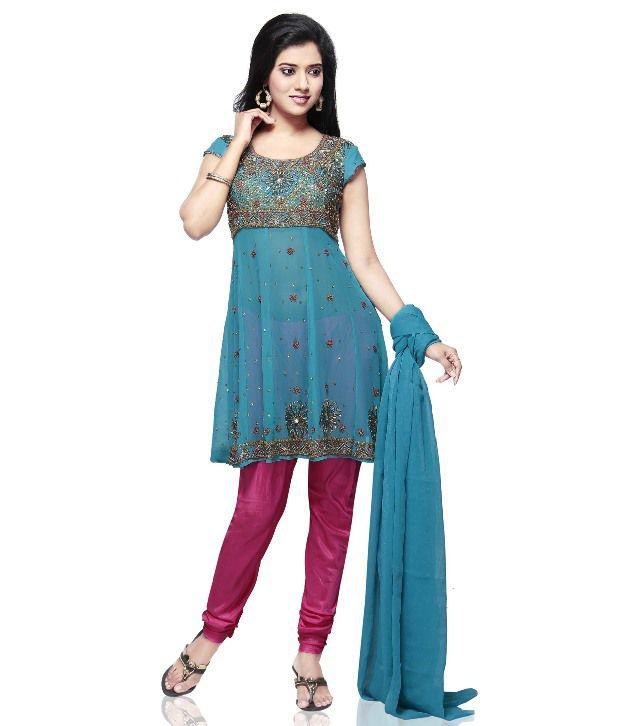 Utsav Fashion Blue Embroidered Faux Georgette Anarkali  Salwar Suit