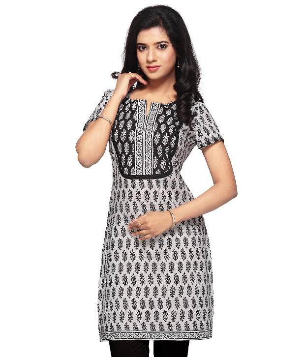 Utsav Fashion White Printed Cotton Half Long  Kurti