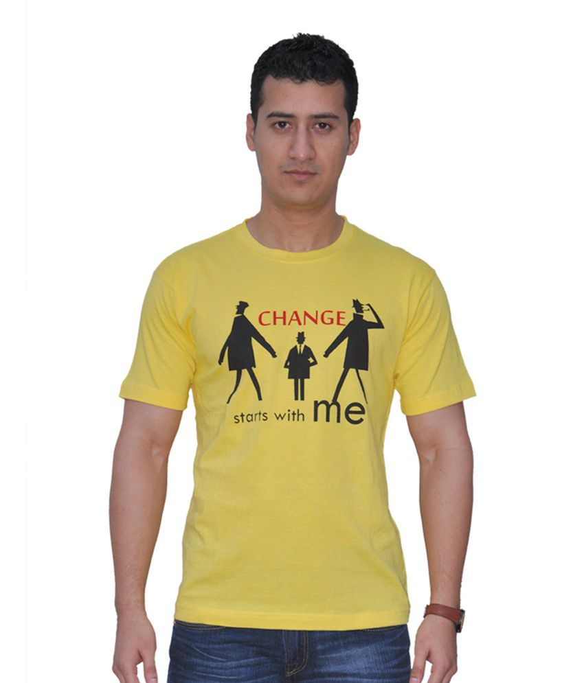 Cmbiare Change Starts with Me Yellow Round neck T shirt