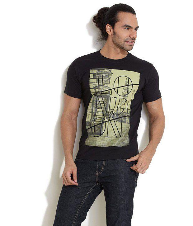 Elaborado Black Half Cotton Round  T-Shirt