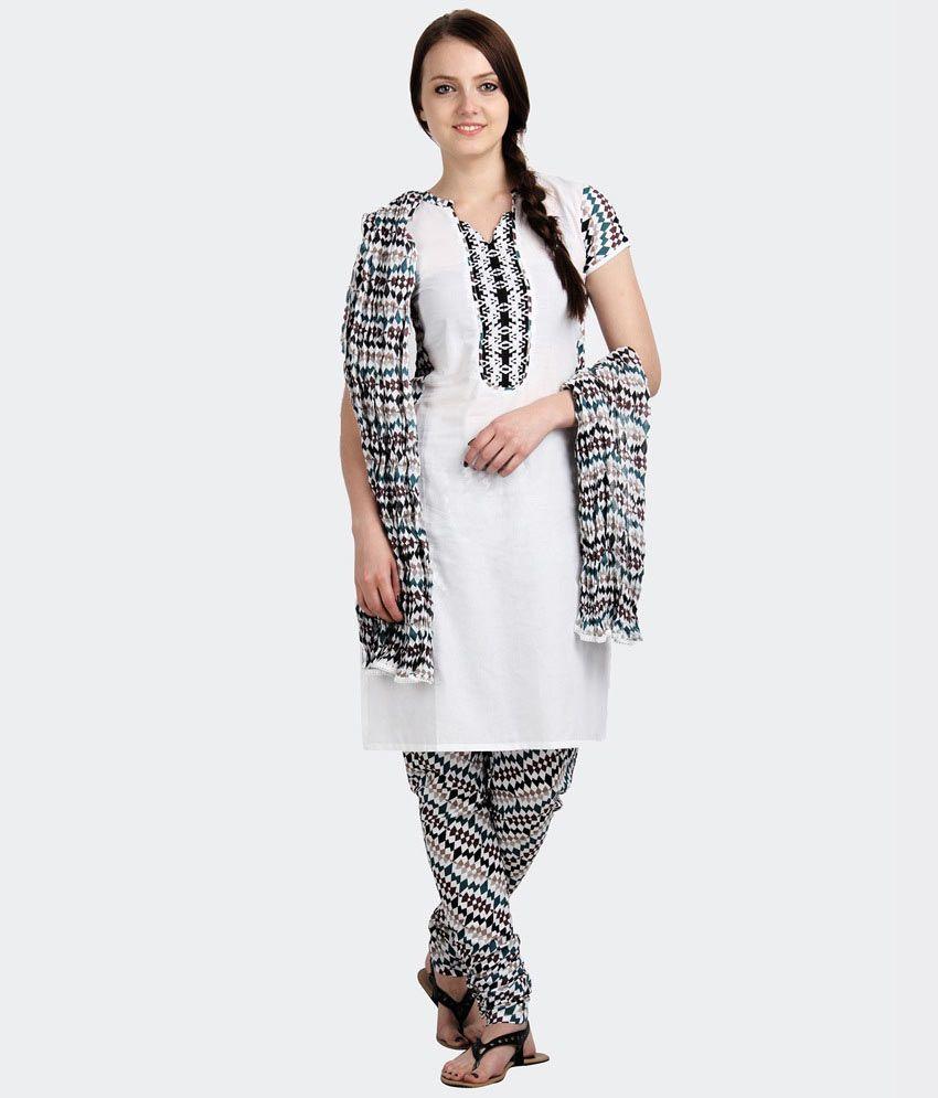 eSTYLe White Printed Cotton Salwars Regular Fit  Salwar Suit