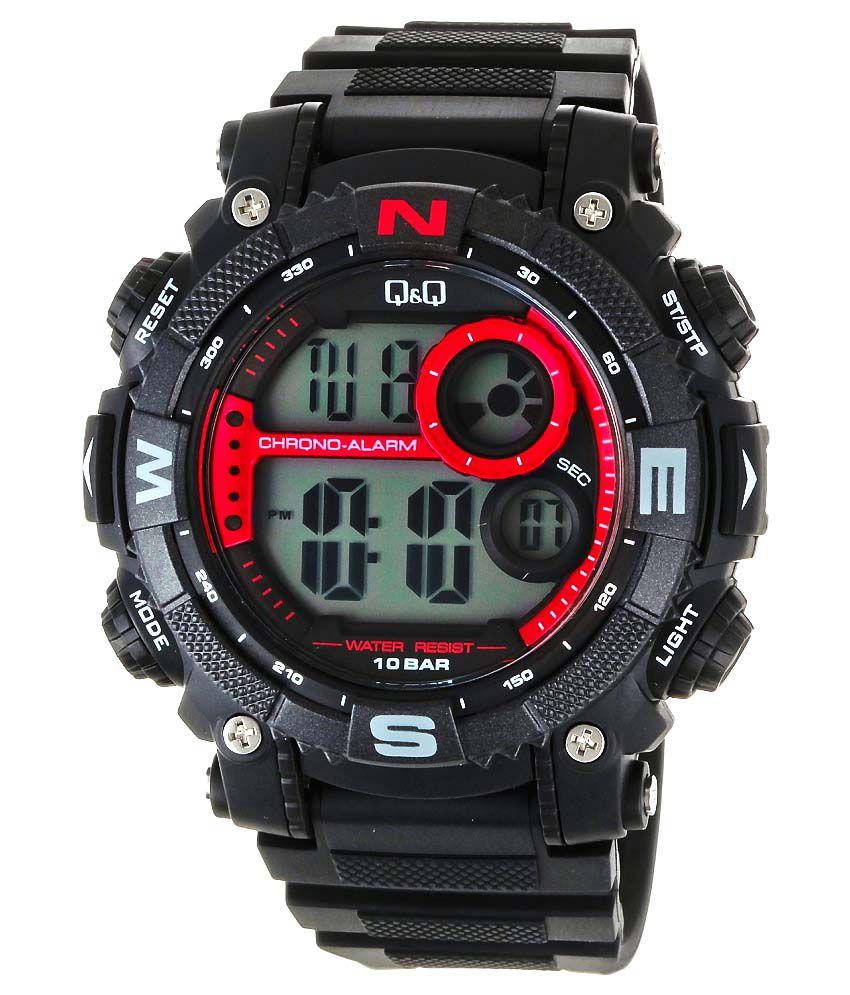 Q amp;Q Digital Watch Dial AZ8 Multi Strap Black