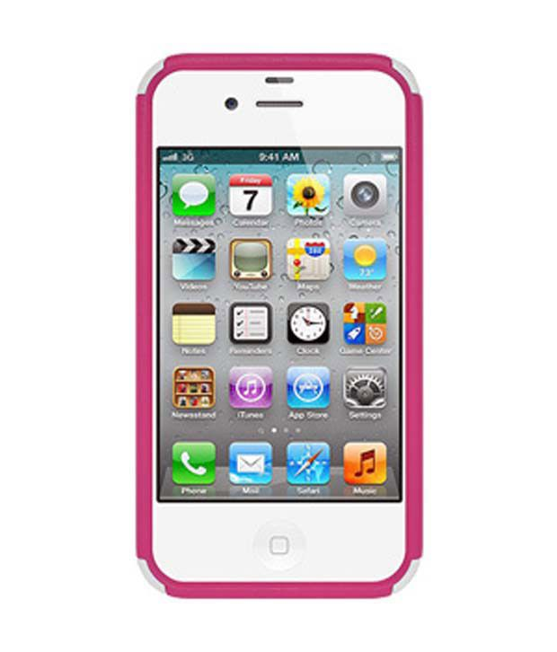Amzer 93350 3D Bling TPU Case - White/ Pink for iPhone 4/4s