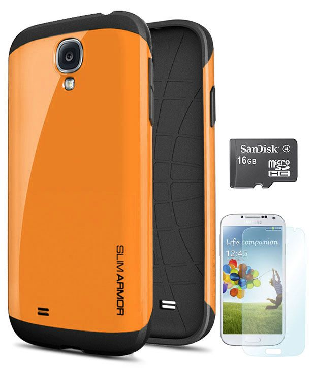 DMG Hard Back Slim Armor Hybrid Protective Cover Case for Samsung Galaxy S4 IV I9500 with 16GB microSD + Matte Screen -Orange