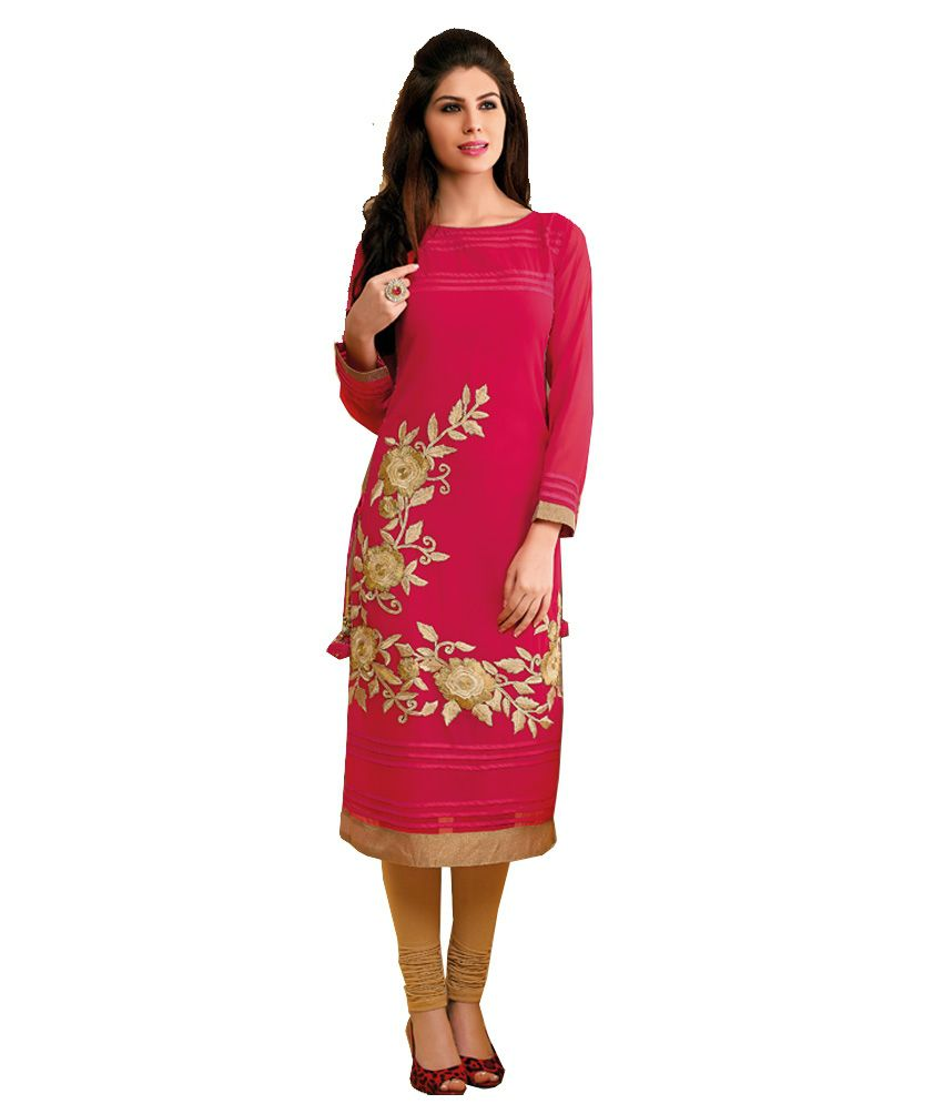 Image result for Faux georgette kurti with embroidery