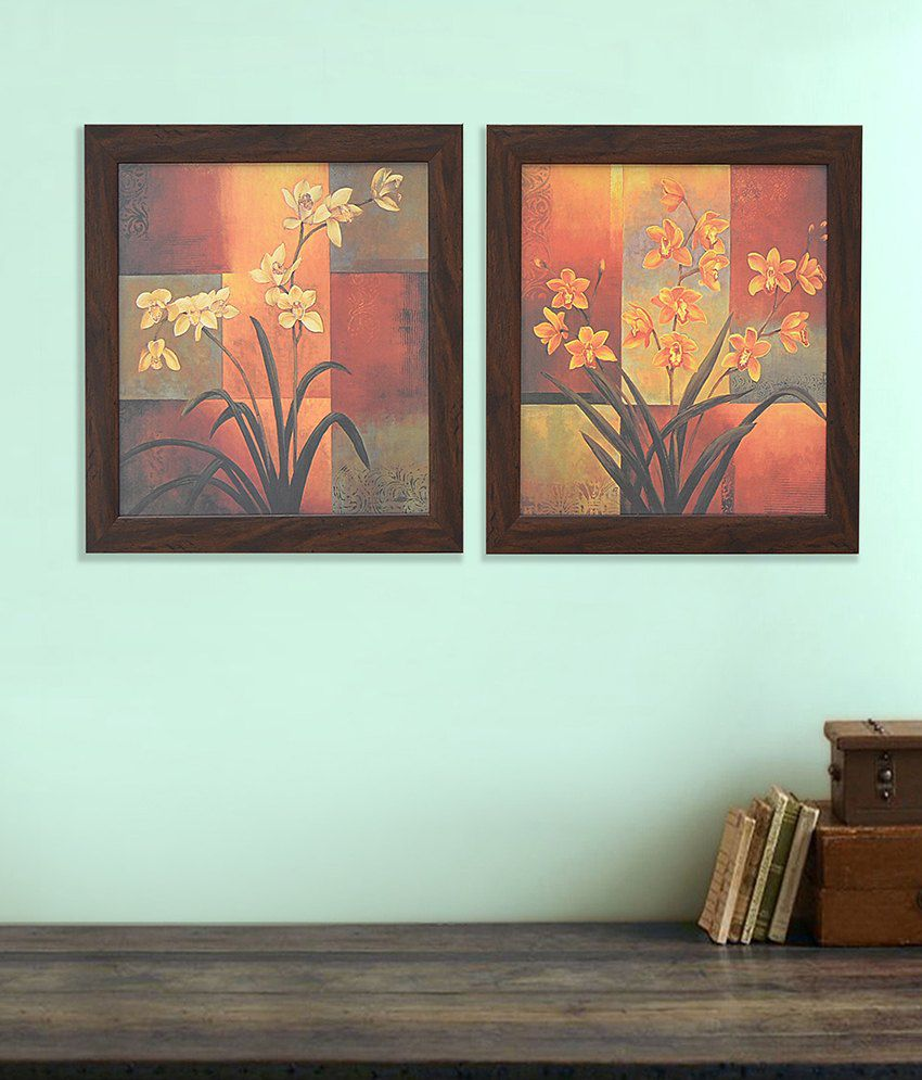 @Home Flowers Orange and Brown Paper print Paintings-Floral (2 Pcs)