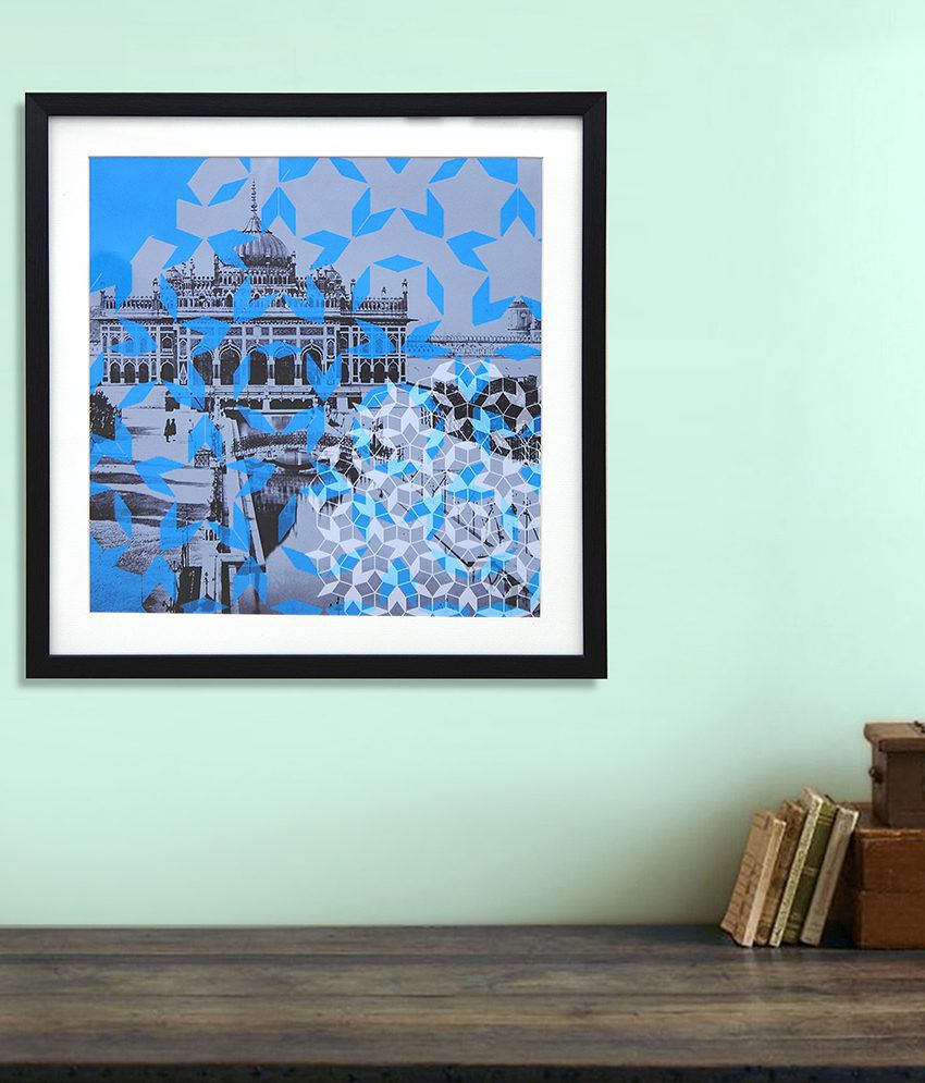 @Home Gray and Blue Wood and Glass Paintings-Architecture (1 Pc)