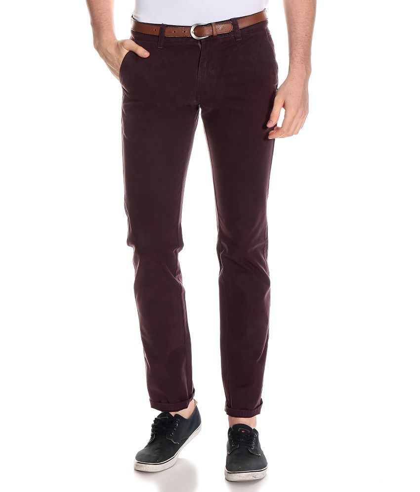 Indian Terrain Maroon Slim Casuals Chinos