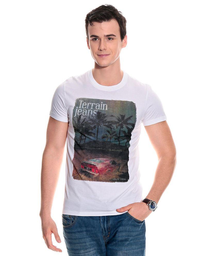 Indian Terrain White Half Cotton Round  T-Shirt