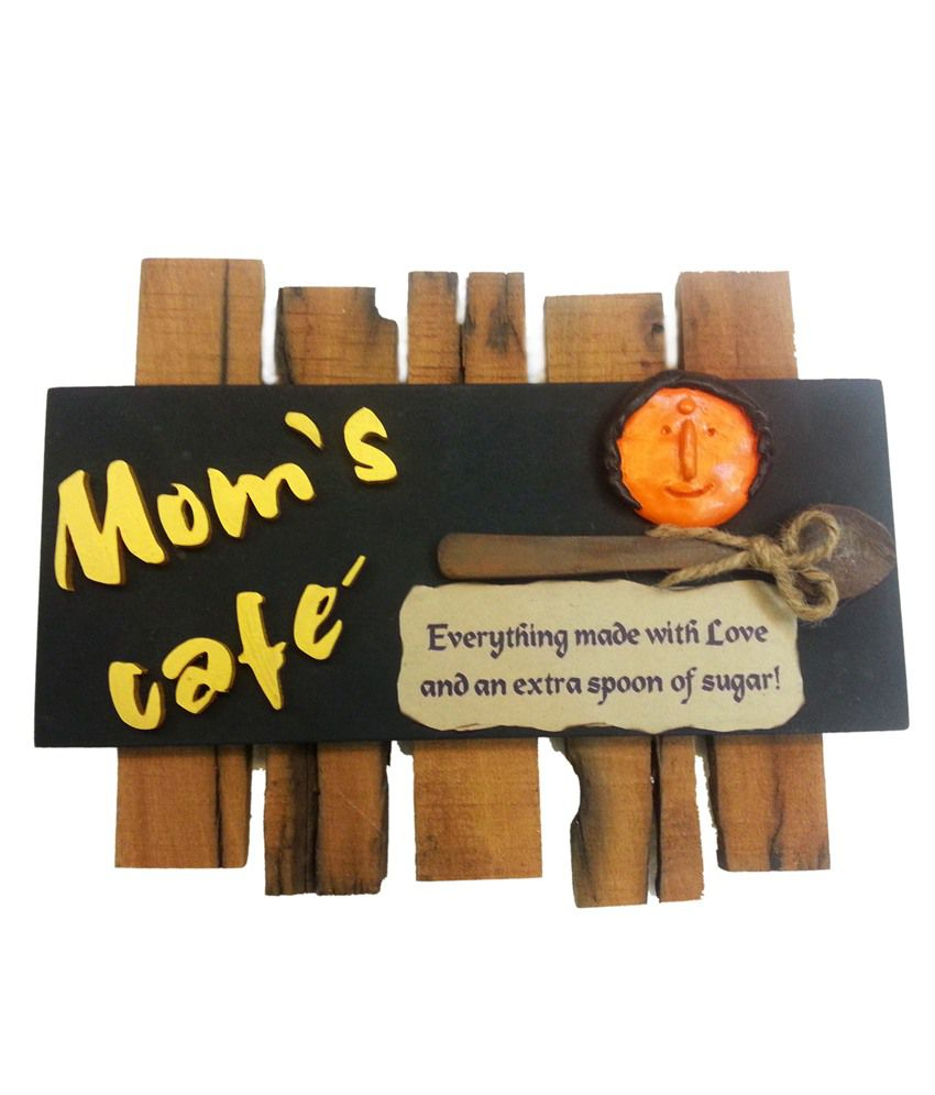 Karigaari Black and Brown Moms Cafe Kitchen Name Plate
