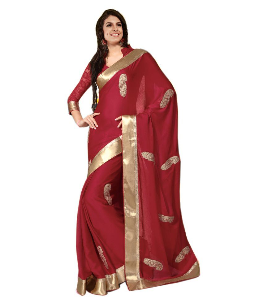 Red with Golden Border Embroidered Designer Party Wear ...