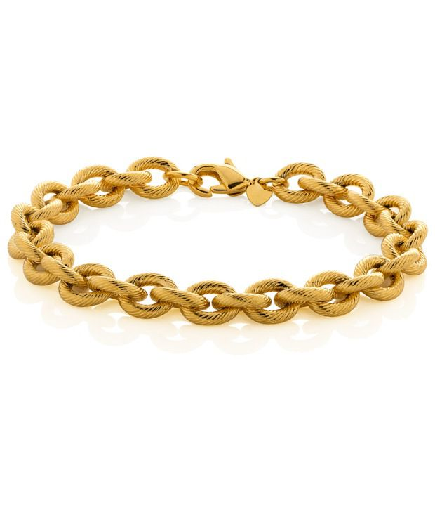Voylla Golden Bracelet Featuring Interlinked Bold Round Loops