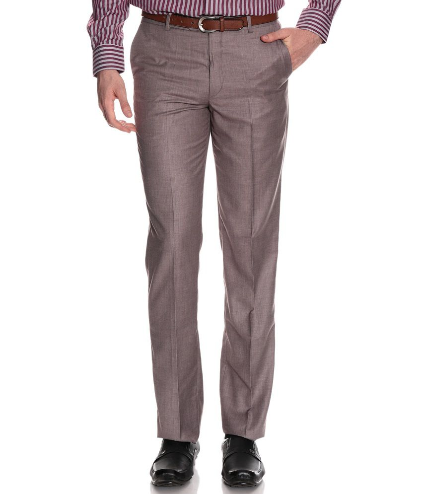 Wills Lifestyle Brown Regular Formals Flat Trousers & Chinos