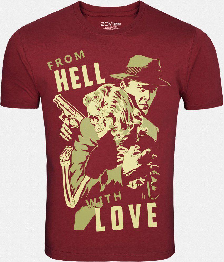 Zovi Maroon Cotton T-Shirt