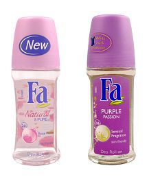 Fa Set of two (Purple Passion, Natural & Pure)- Roll On 50ml for women