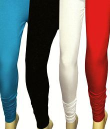 Kaasni's Collection Turquoise Blue-Red-Black-White Leggings Pack Of 4