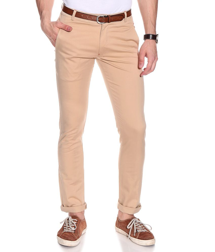 Franco Leone Beige Comfort Casuals Chinos