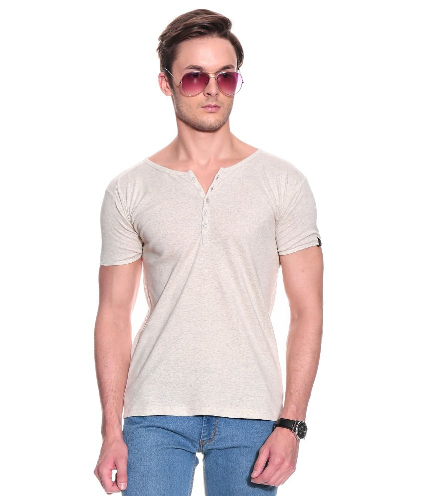Franco Leone Pink Half Cotton Henley  T-Shirt