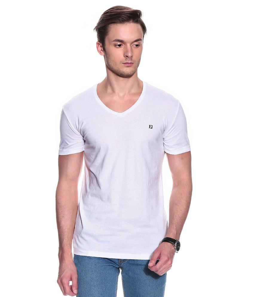 Franco Leone White Half Cotton V-Neck  T-Shirt