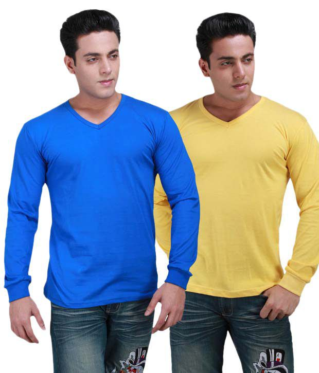 INKOVY Multi Full Cotton V-Neck T-Shirt