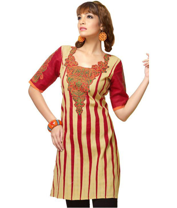 Karishma Suits Red Cotton Unstitched Dress Material