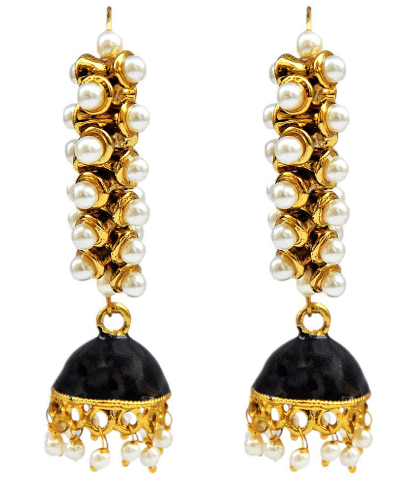 Maayra Beautiful Black Wedding Dangler Earrings