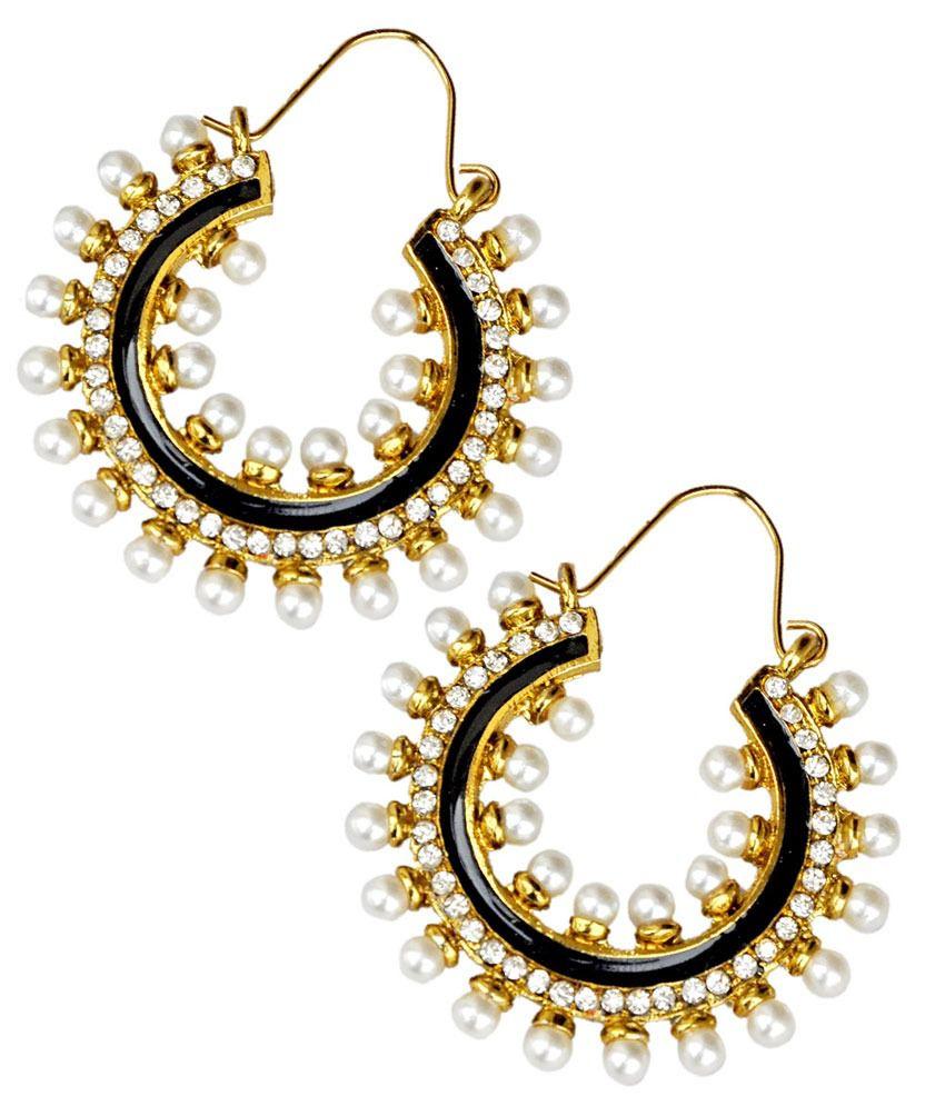 Maayra Hot Black Wedding Hoop Earrings
