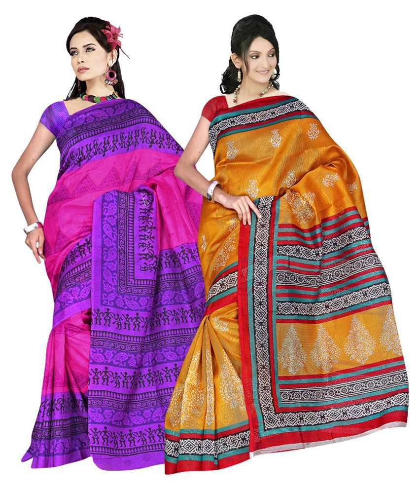 Nanda Silk Mills Multicoloured Cotton Saree