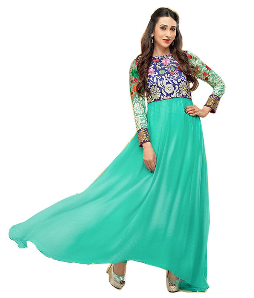 Party Wear Dresses Turquoise Faux Georgette Unstitched Dress ...