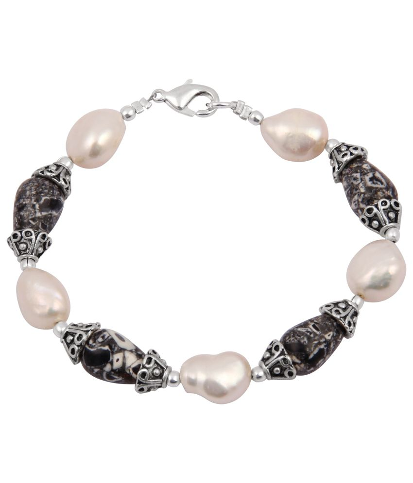 Pearlz Ocean Cocktailed Mosaic Beads & Fresh Water Pearl 7.5 Inch Bracelet