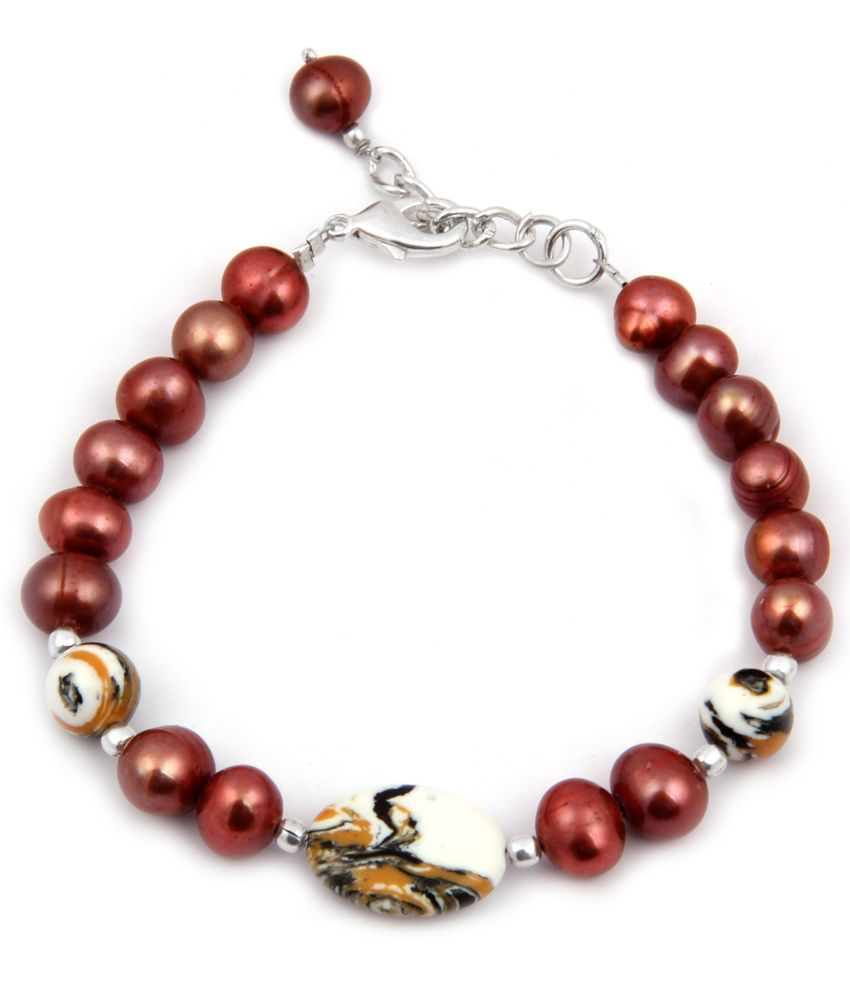 Pearlz Ocean Gregarious Mosaic Beads & Fresh Water Pearl 7.5 Inches Bracelet