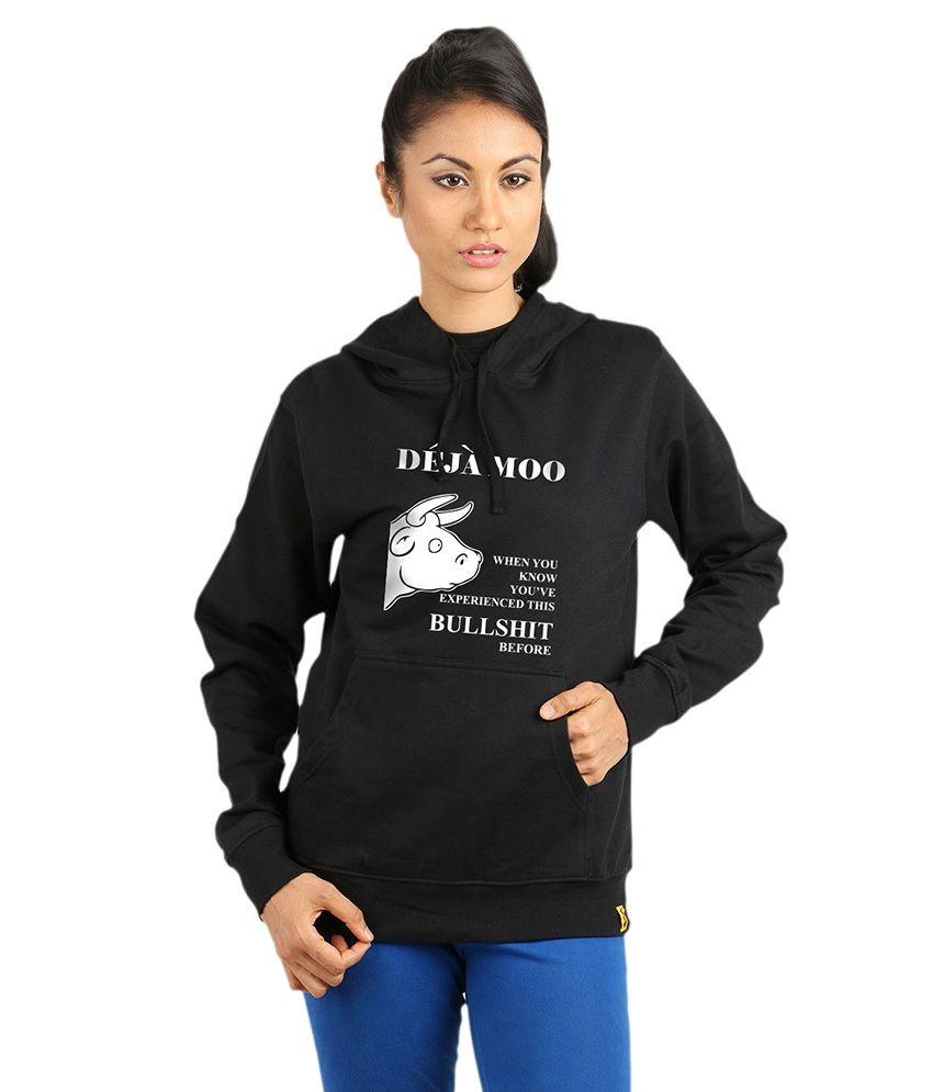 Campus Sutra Black Cotton - Fleece Non Zippered