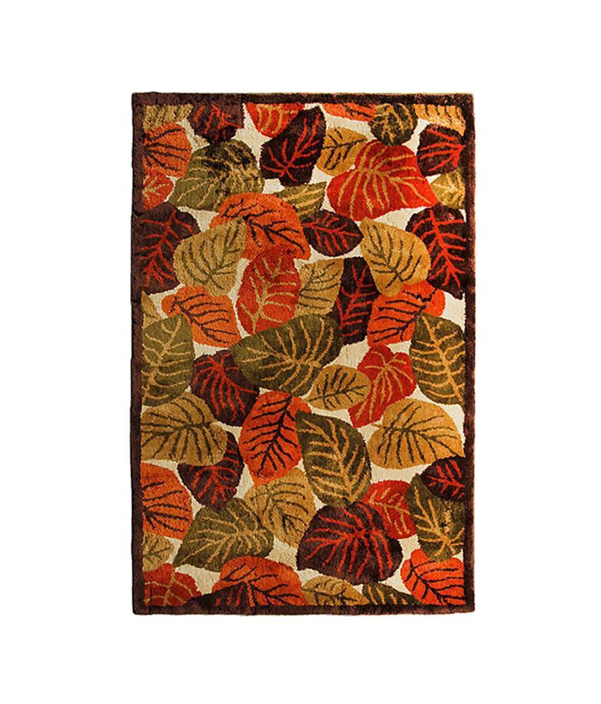 Riva Carpets Orange And Green Natural Autumn Leaves Area