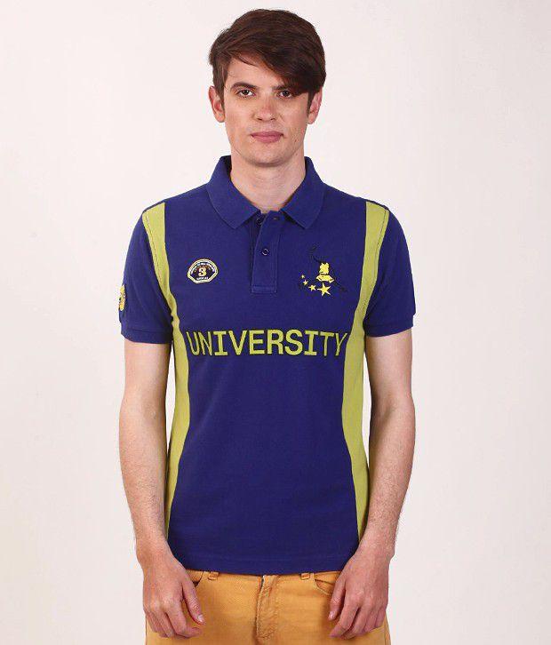 SMOKESTACK Blue Half Cotton High Neck  T-Shirt