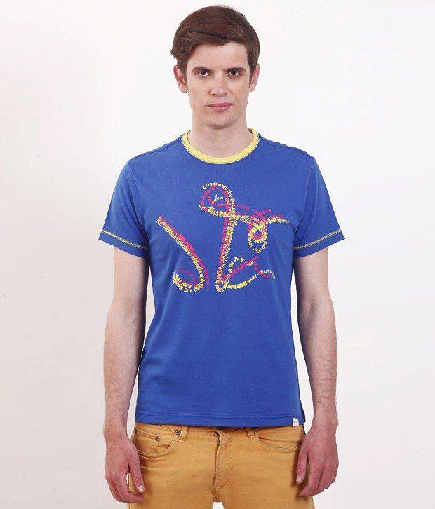 SMOKESTACK Blue Half Cotton Round  T-Shirt