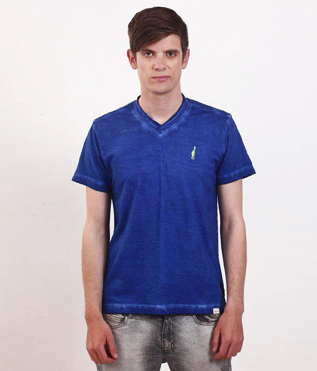 SMOKESTACK Blue Half Cotton V-Neck  T-Shirt