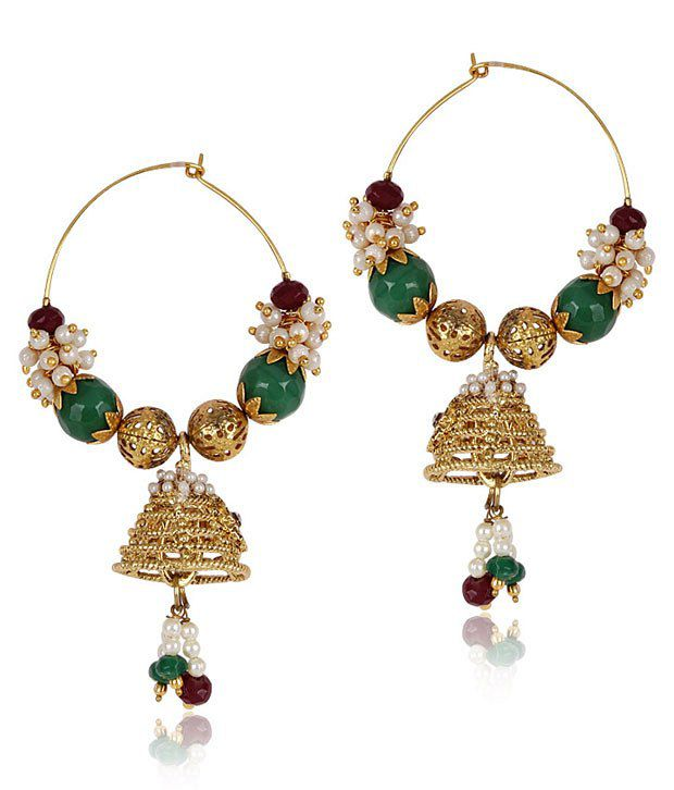 Shinning Diva Alloy stone Red green white gold earrings