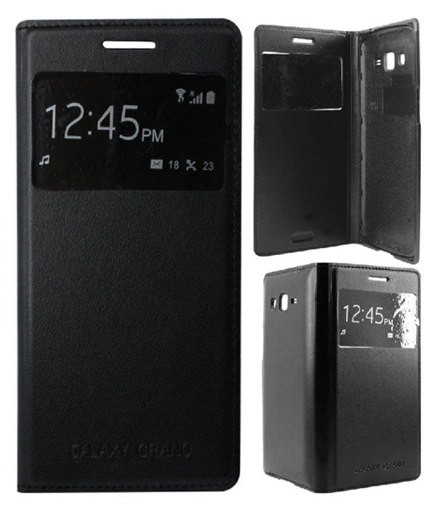 new style 05712 46b60 Xfose S-View Flip Case Cover For Samsung Galaxy Grand 2 S7102 S7106 Black