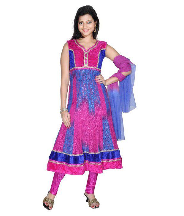 Idha Pink Printed Net Stitched Anarkali  Salwar Suit