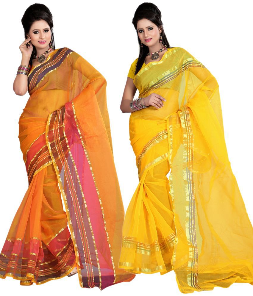Kajal Saree Charming Multi-colour Faux Tissue Sarees Pack Of 2