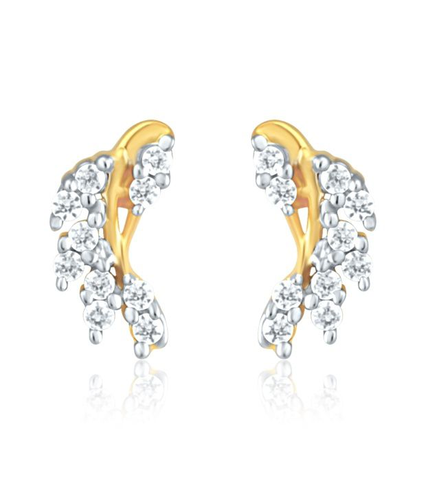Mahi Gold Plated Stud Earrings of brass alloy with CZ for Women ER1191427G