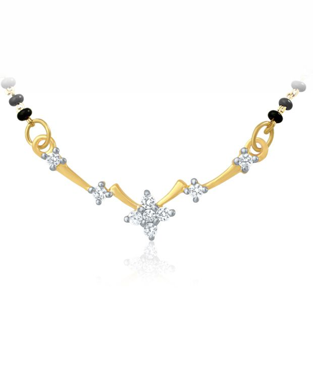 Mahi Gold Plated Mangalsutra Pendant with CZ for Women PS 1191436G